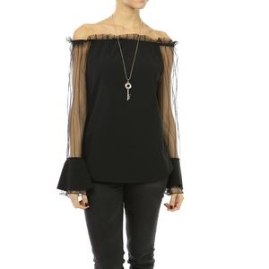 New Top Italy Off Shoulder Black Lace Ruffle S M